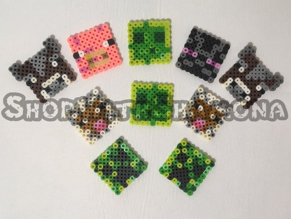 Inspired By Minecraft Perler Beads Sword Creeper Axe Pig Magnet Necklace Keychain Pixel Art For A Party A Gift Or Favor