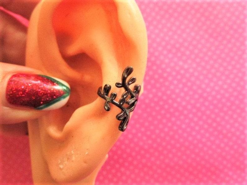 Black leaf vine ear cuffs-PAIR