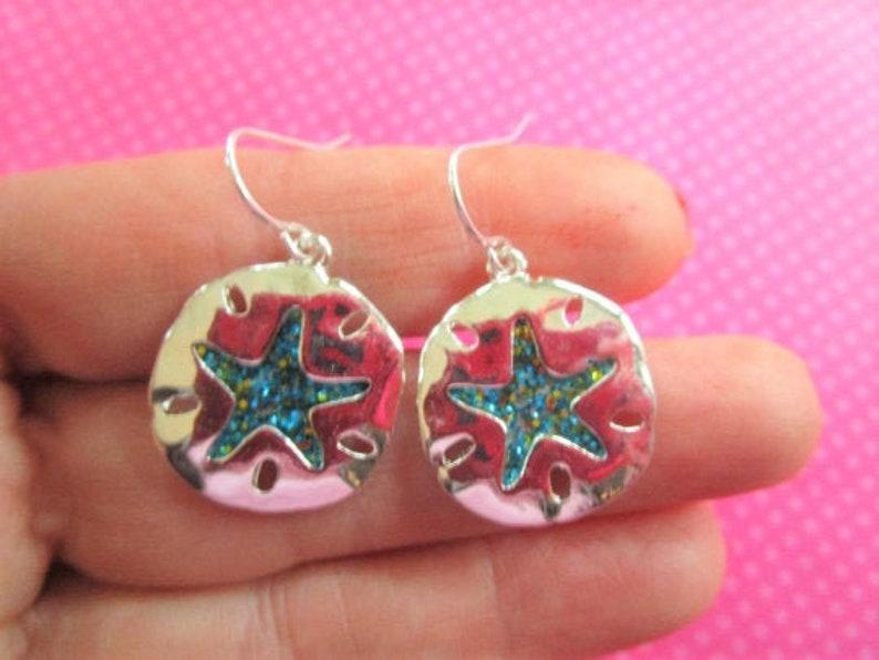 Abalone shell or blue glitter starfish earrings