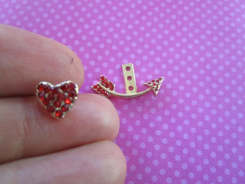 Red crystal Heart arrow ear jacket stud set