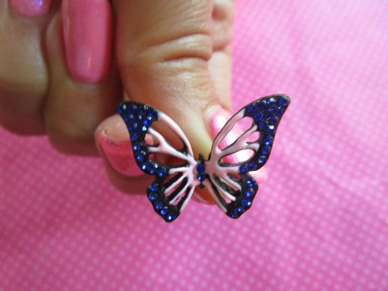 Butterfly blue pink stud earrings