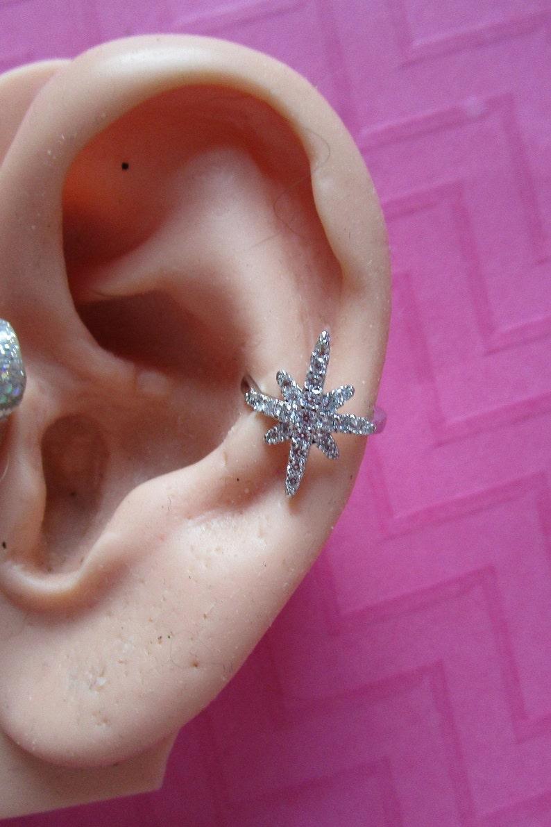 74fa5b389c1 North Star rose gold silver crystal ear cuffs