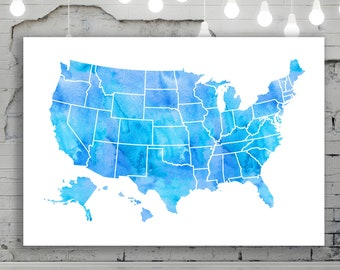 Home Decor Printable Art USA State Road Map Poster Modern Wall Art Watercolor Navy Blue Massachusetts Map Massachusetts State Map Print