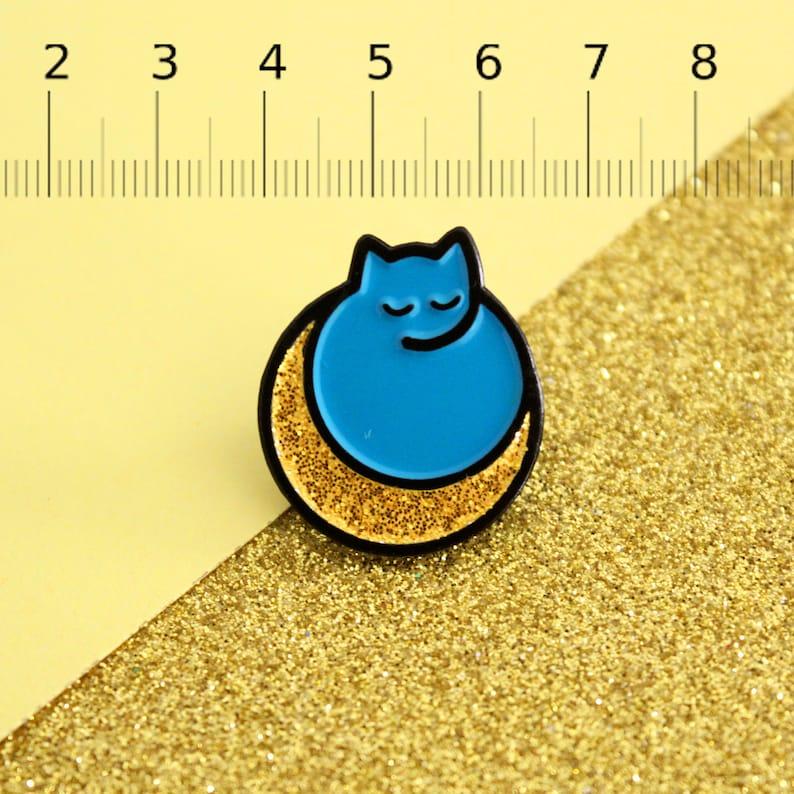 blue cat pin Lunar Eclipse Mystical Cat Enamel Pin  sleeping kitty mystic pin badge  Space kitty  Moon Luna Cat  Ready to Ship