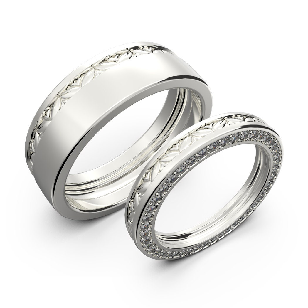 White Gold Wedding Rings Sets Gold Wedding Bands Diamond Ring Set His And Her Wedding Band Set Diamond Wedding Ring Set Promise Rings