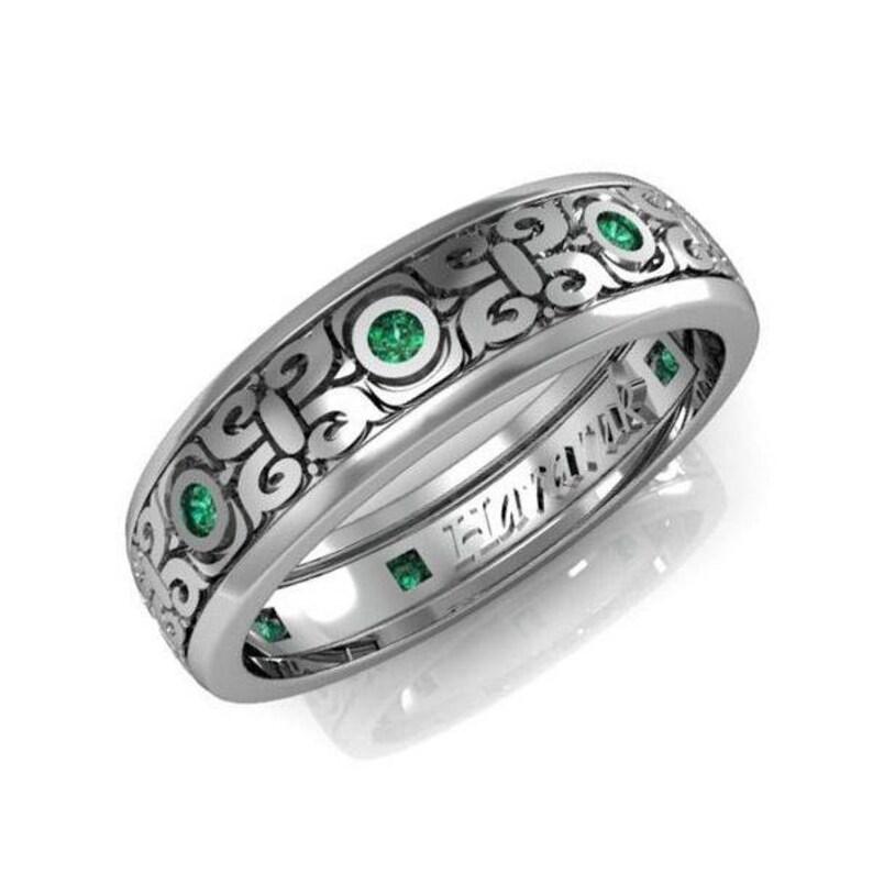 Male Wedding Bands.14k Diamond Engagement Ring With Emeralds Male Wedding Band Engraved Wedding Band Mens Wedding Ring Mens Engagement Ring Mens Ring