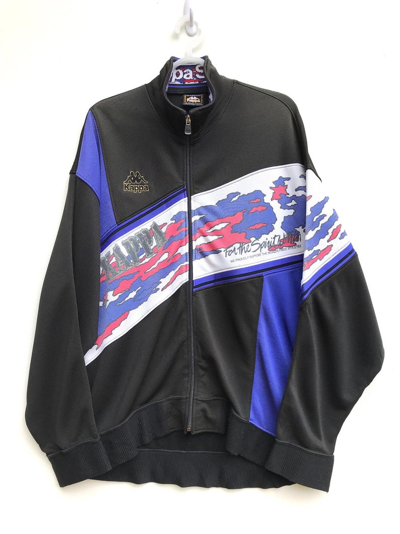 Vintag Kappa Colourblock Sweater Jacket Vintage Sweatshirt  Vintage Jacket  90s  Aesthetic Clothing  Comfy Large