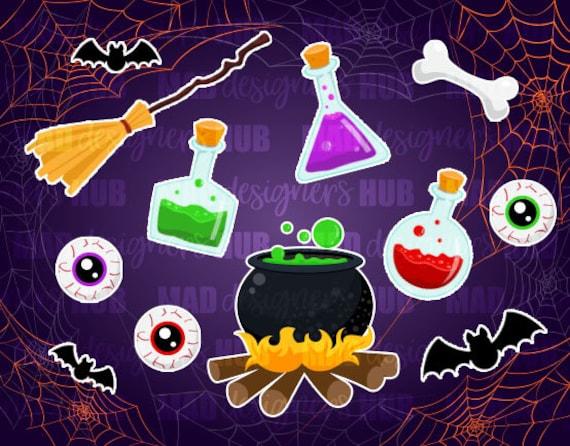 Sorcière Potion Bouteilles Chaudron Balai Clipart Clipart Cute Halloween Halloween Dessins Et Accessoires En Jpeg Et Png
