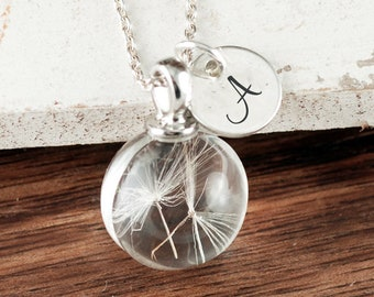 Dandelion Seed Necklace, Dandelion Necklace, Silver Dandelion, Dandelion Jewelry, Bridesmaid Necklace, Personalized Wish Necklace