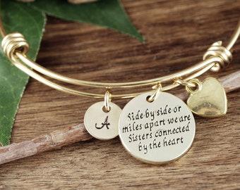 Sister Bracelet, SIsters, Sister Gift, Sister Jewelry, Sisters Bracelet, Side by Side or Miles Apart, Charm Bracelet, Gift for Sister