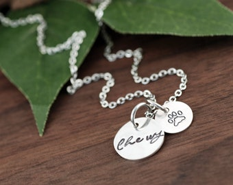 Paw Necklace, Personalized Necklace, Dog Lovers Gifts, Paw with Name, Gifts for Her, Custom jewelry, Paw Charm Jewelry, Paw Print Necklace