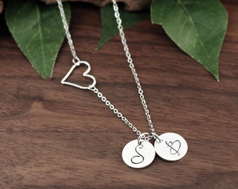 Personalized Heart Initial Necklace, Silver Initial Necklace, Script Initial Disc, Cursive, Sideways Heart Necklace, Initial Pendant