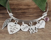 With brave wings she flies, Graduation Keychain, Angel Wing Bracelet, Graduation gift for her, Gift for Daughter, Daughters Graduation