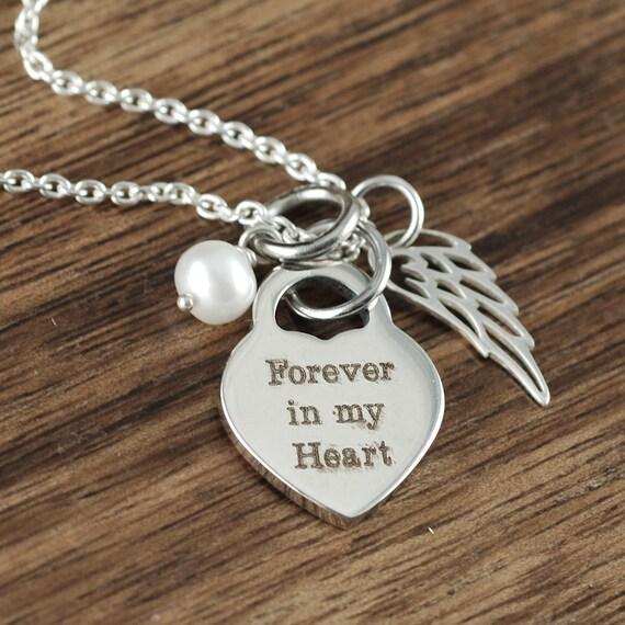 Memorial Gift Personalized Forever in my Heart Angel Wing Memorial Necklace Always in my Heart In Loving Memory Birthstone Memorial