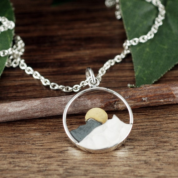 Mountain Range with Sun or Moon Mountain Necklace in Sterling Silver Necklace for Woman Mothers Day Gift Wanderlust Jewelry