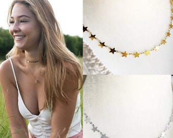 Outer Banks Inspired Choker Necklace, Sarah OBX Star Jewelry Initial, Dainty Layered, Gold or Silver, Bohemian Jewelry, Obx Inspired