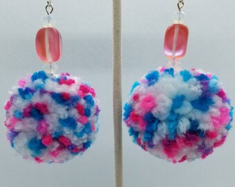 Bubble Gum Colors - Peppered Pom Earrings - Pink And White Glass Beads - Super Soft Fluffy