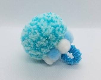 Pastel Blue Colors - Fashion Statement Ring Pom