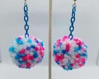Bubble Gum Colors - Dangle Drop - Peppered Pom Earrings -  Blue Chain 3cm - Super Soft Fluffy