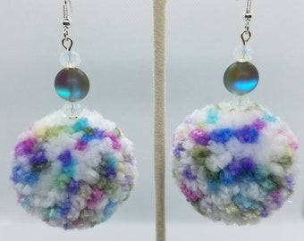 Unicorn Colors - Peppered Pom Earrings - Greyish Blue And White Glass Beads - Super Soft Fluffy