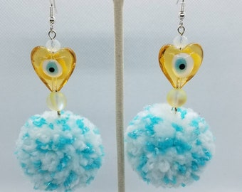 Blue and White Peppered Pom Earrings - Yellow Heart Glass Bead With Evil Eye In The Middle- Super Soft Fluffy