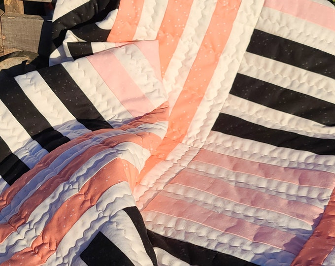 Featured listing image: Modern Stripes Baby Quilt
