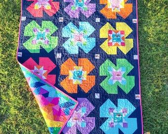 Flower Mill Modern Baby Quilt