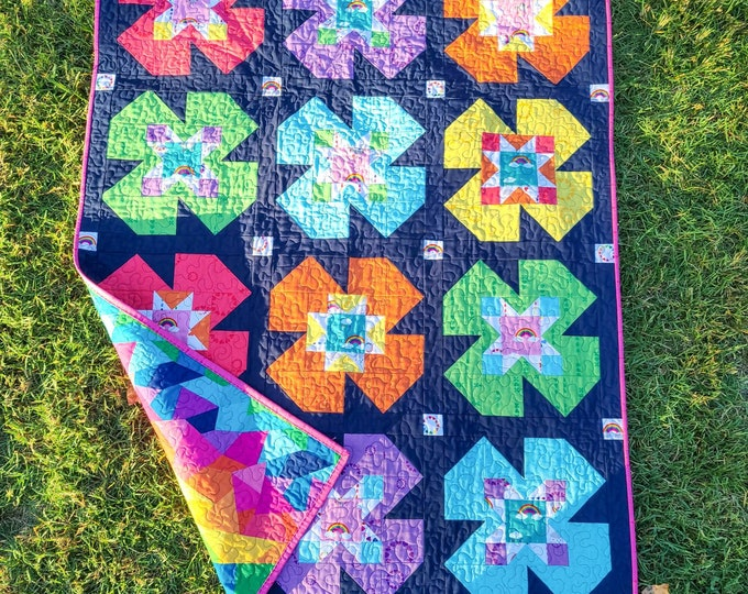 Featured listing image: Flower Mill Modern Baby Quilt