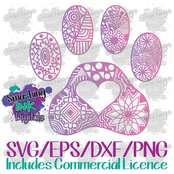 Paw Print Mandala Svg Cutting File Dxf Cut File Cut File For Etsy
