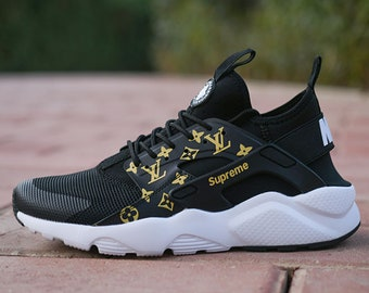 Custom Nike Louis Vuitton Huarache Black With White Sole Sneakers Hand Painted Embroidered Shoes Gucci Supreme Bape Champion