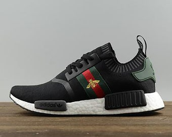 d153758b2 Adidas Gucci bee nmd custom shoes paint louis vuitton mens womens black  color athletic run sneakers and custom laces and regular laces