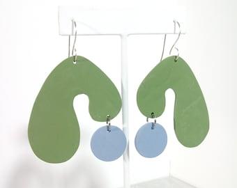 Green Blue Abstract Arch Handmade French Hook Ear Wire Modern Art Minimalist Large Earrings Statement Jewelry
