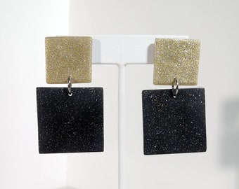 Gold Black Geometric Square Handmade Large Statement Jewelry Minimalist Modern Art Color Block Drop Earrings