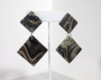 Black Gold Marbled Geometric Handmade Statement Jewelry Minimalist Modern Art Large Drop Dangle Earrings Glitter