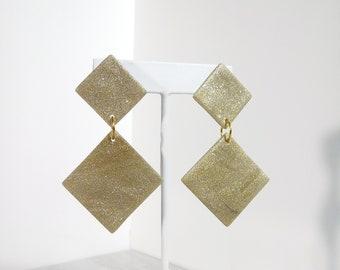 Gold Geometric Diamond Handmade Minimalist Modern Retro Large Statement Jewelry Drop Dangle Occasion Earrings