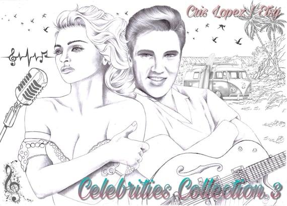 1 Coloring Page | Madonna & Elvis | Celebrities Collection - Cris Lopez