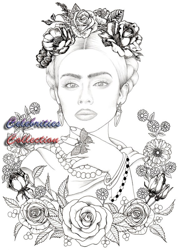 - 1 Coloring Page Frida Kahlo Celebrities Collection Cris Etsy