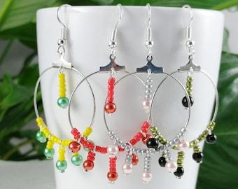 Red peacock tassel earrings in openwork fabric Woman or Teen Gift Idea Bohemian Elegance Spanish style