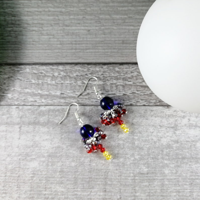 freedom Rainbow colorful jewelry Woman gift idea Glass Beads and Faceted Pearls Unique model Rainbow Beaded Cluster Earrings
