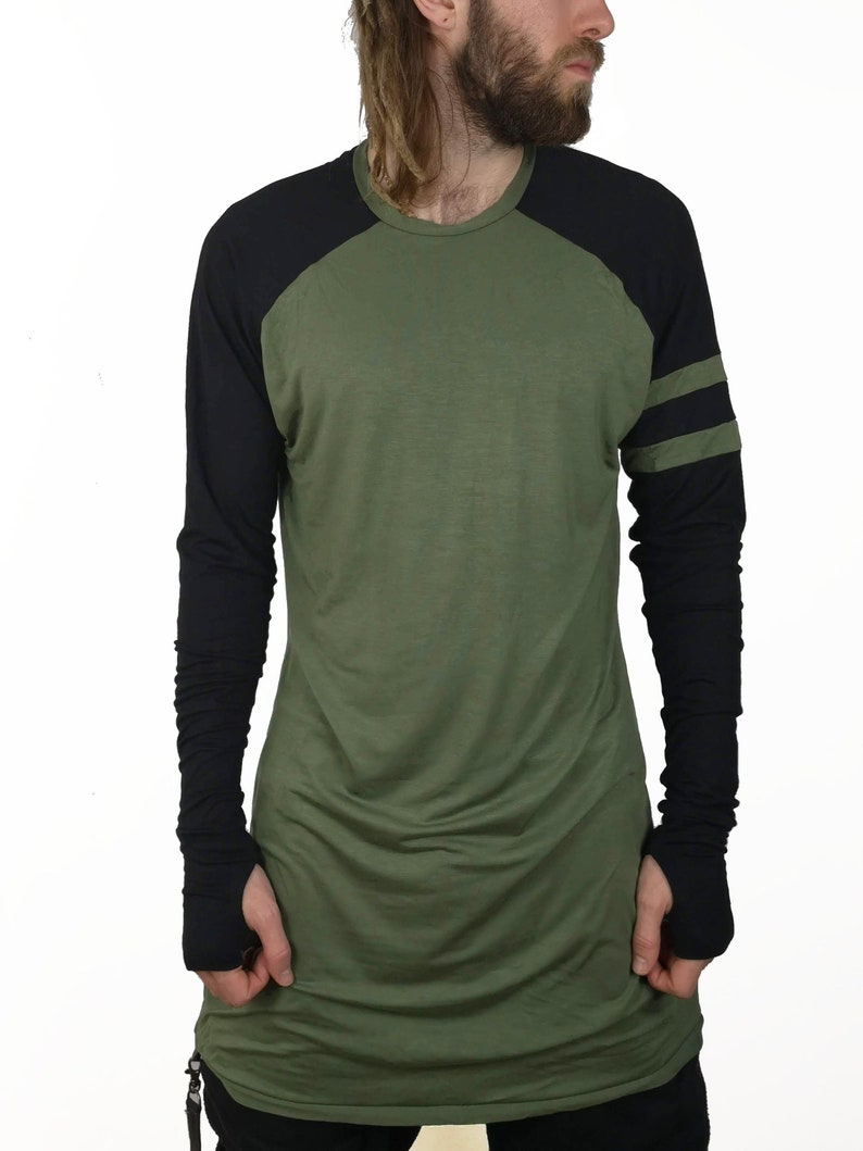 c6264434a3e8 Handmade Baggy T-shirt Loose fit extra long green black | Etsy