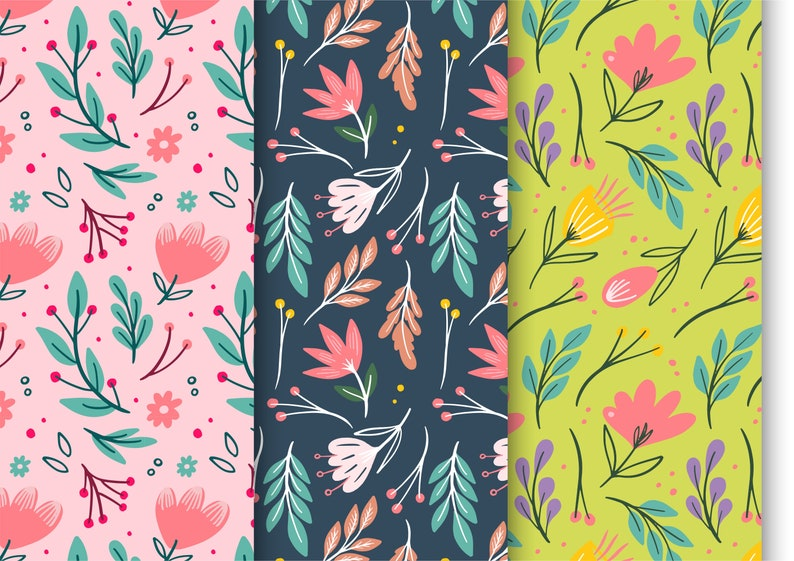 Pdf Gift Paper Flowers theme Printable Wrapping paper 3 Differents Patterns.