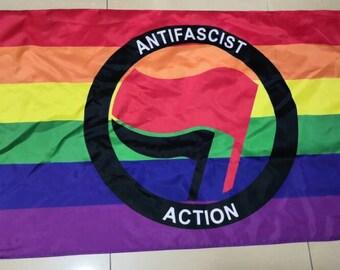 Antifa Aktion Antifascist Anti Homophobe LGBT Rainbow  Mini flag