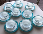 Pyrex Tea Cup and Saucer Turquoise and Gold Trimmed 1950 39 s Milk Glass