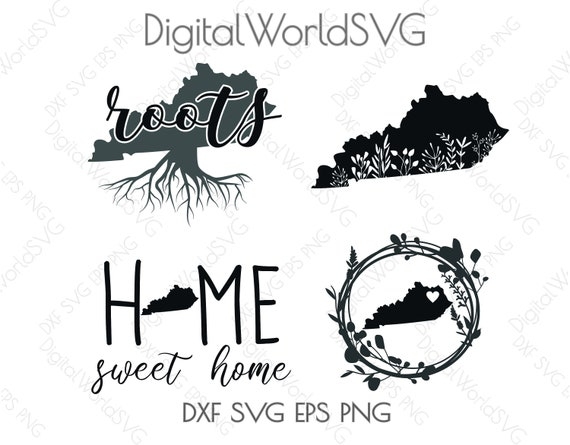 Kentucky State Digital File Home Sweet Home Floral Design Etsy