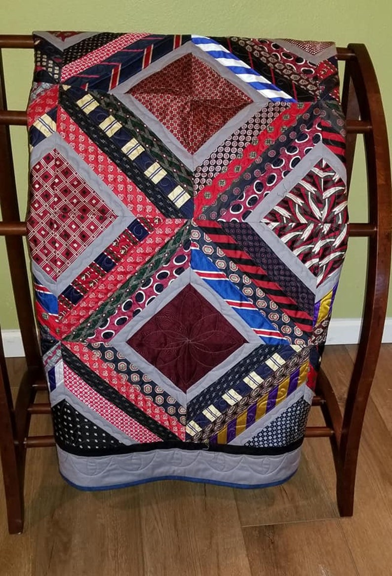 Memory Quilt Made from Silk Ties
