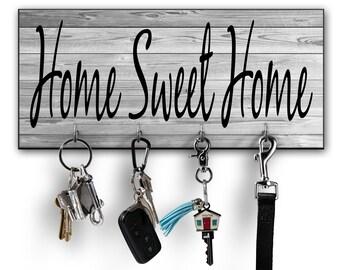 Home Sweet Home Sign   Key Holder   Key Hooks   Key Holder For Wall   Wall  Key Holder   Personalized Key Holder   Wall Organizer