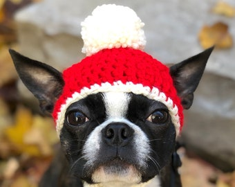 Crochet Knit Christmas Holiday Dog Hat with Pompom   Tie flaps   Pet Beanie Hat