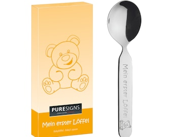 PURESIGNS My FIRST SPOON with engraving, name, date engraved, personalized cutlery   Birth Gift   Baptism   Birthday