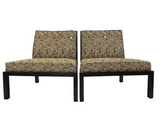Slipper Chairs By Baker Cane Backs 1960u0027s.