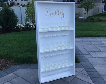 Champagne Wall With Stand - Holds 21 Champagne Flutes - Champagne Bar - Champagne Glass Holder - Champagne Display - Engagement Party